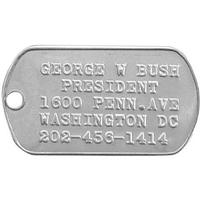 Personalized Embossed Military Style Stainless Steel Rolled Edge Dog Tag