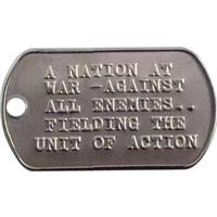 Embossed Military Style Stainless Steel Rolled Edge Dog Tag